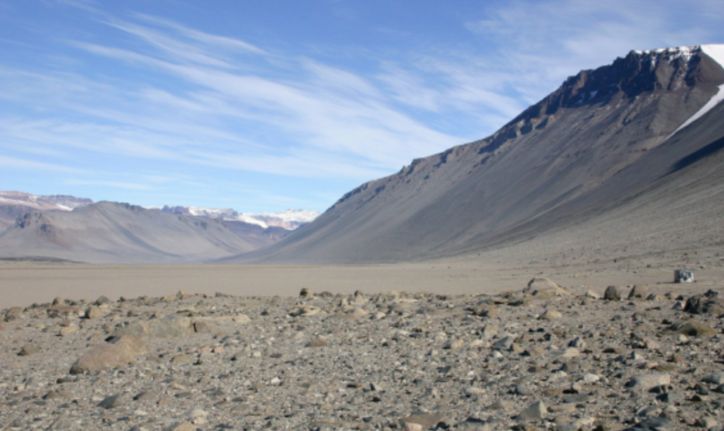 "The Wright Valley, one of the actual ""oasis"" areas on the typically icy Antarctic continent."